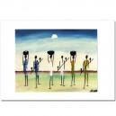 Scène d'Afrique peinte à la main